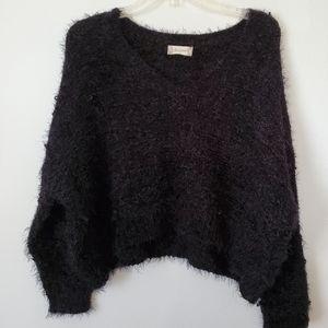 Altar'd State/ Black Fuzzy Crop Sweater